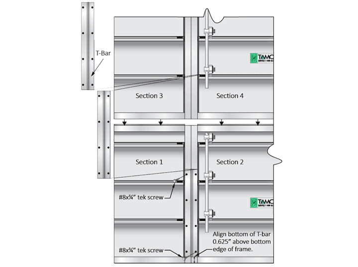 Two sections high by two sections wide backdraft damper