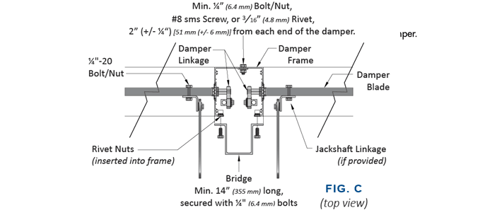 Figure C for Assembling Multi-section smoke dampers