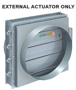 Smoke damper with square to round transition. External actuator only.